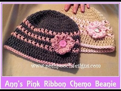 Ann's Pink Ribbon Chemo Beanie Crochet Pattern 2
