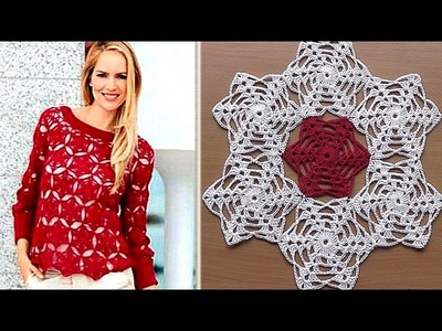 Crochet motif for tunic blouse How to join motifs Part 2