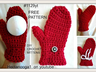 Crochet RED MITTENS FOR VALENTINE'S DAY, 1 hour project,  ADULT SMALL