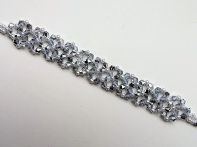 Crystal Bicones Bracelet. DIY Elegant Bracelet