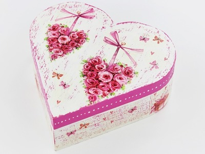 Decoupage wooden heart box - Fast & Easy Tutorial - DIY