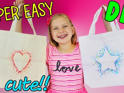 DIY Canvas Tote Bag - SUPER Easy Valentine Paint Craft