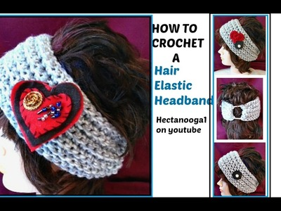 Diy, CROCHET VALENTINE HEADBAND,  elastic back, make any size