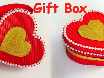 DIY - How to make HEART GIFT BOX?. valentine day gift box. paper craft.