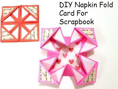 DIY Napkin Fold Card for scrapbook.Tutorial for Scrapbook.tutorial for Explosion box