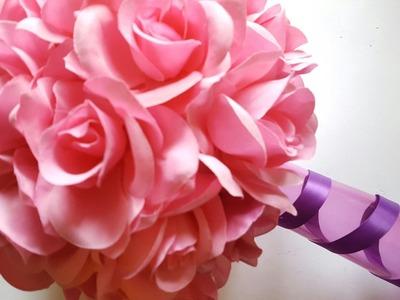 DIY PINK ROSE WEDDING VASE - DOLLAR TREE CRAFTS