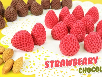 DIY STRAWBERRY CHOCOLATE ! Happy DIY Valentine's Day Chocolate Kids Gift (Almond) Sweets Candy