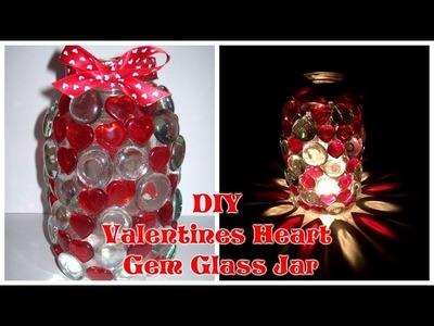 DIY Valentines Heart Gem Glass Jar