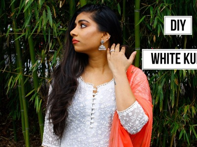 DIY White Indian Kurti with lining (Potli button) | FashionMoksha