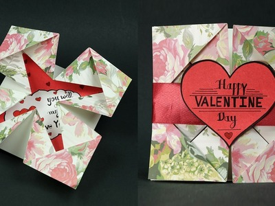 Happy Valentine Love Message Card DIY - Napkin Fold Valentine Card Step By Step