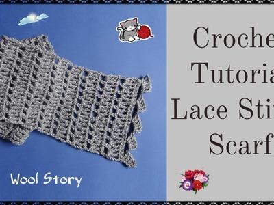 How to Crochet Lace Stitch Scarf (Heklani šal)