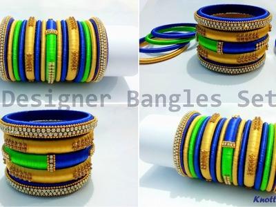 How to make a Silk Thread Bangles Set at Home | Tutorial | Designer | Knotty Threadz !!