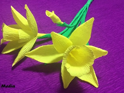 How to make beautiful daffodils Origami paper flower easy. DIY crepe Paper Flower Step by step