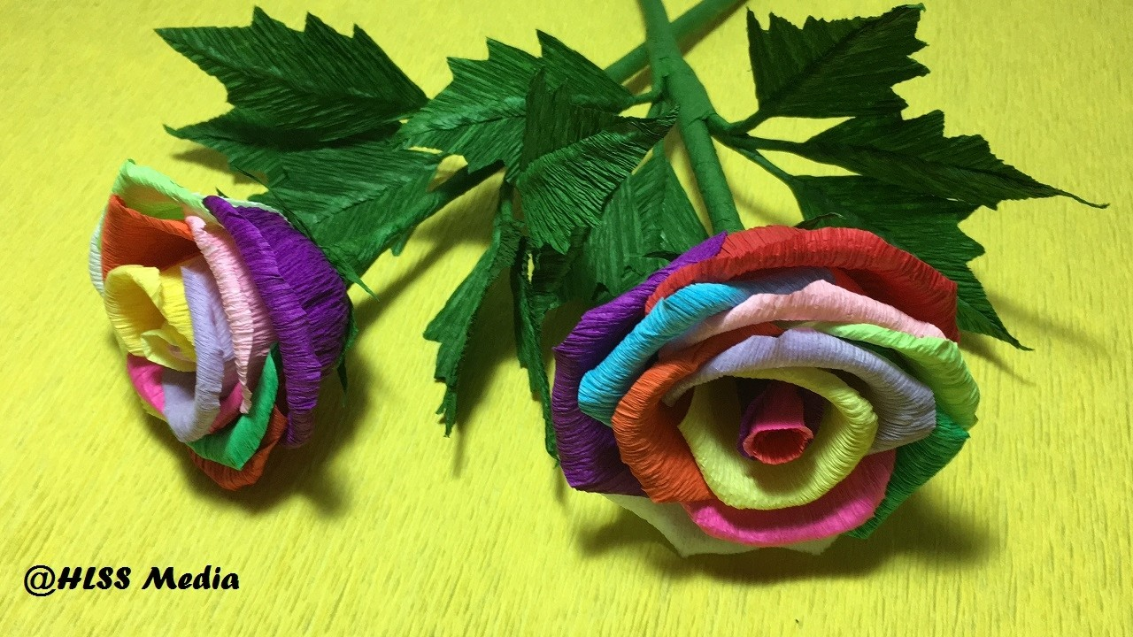 How to make  Beautiful origami rose paper flower easy step by step.diy crepe paper flowers  tutorial