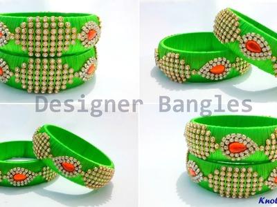 How to make Designer Silk Thread Bangles at Home   Tutorial   Knotty Threadz !!