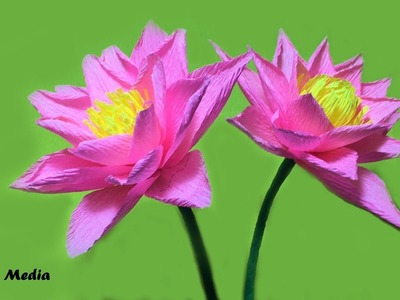 How to make pretty lotus DIY Origami by crepe paper easy step by step. Paper folding craft tutorials