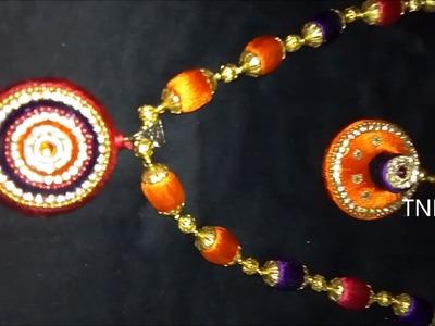 How to make silk thread necklace  | silk thread necklace making tutorial,silk thread necklace set