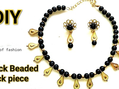 How To Make Simple Black Beaded Necklace At Home||DIY Beaded Jewellery. !