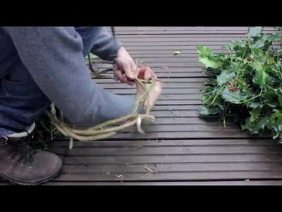 Making a Christmas Wreath from Natural Materials found in the Woods