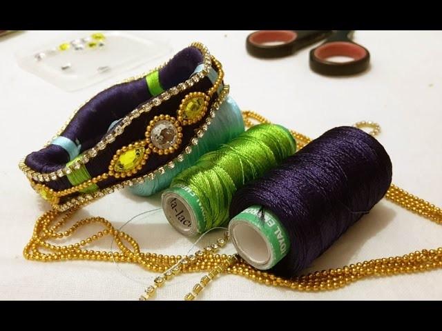 Making of  Designer silk thread Bridal Bangles at home : tutorial