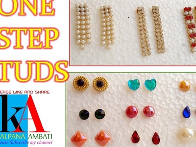 Making of one step earring studs at home | tutorial | DIY at home