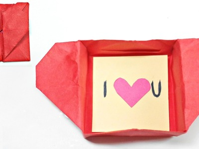 Origami valentine love heart Box & Envelope secret message for beginners, valentine's day card gift