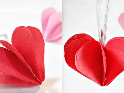 Paper heart 3D For Decoration.DIY Crafts - Paper Hearts Design Valentine's Day tutorial