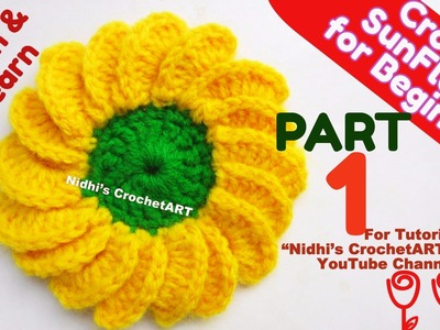 PART 1-How to Crochet Beautiful Sunflower Flower Stitch Step by Step Tutorial for Beginners