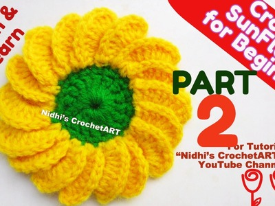 PART 2-How to Crochet Beautiful Sunflower Flower Stitch Step by Step Tutorial for Beginners
