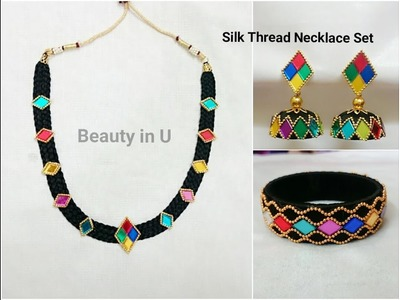 Silk Thread Necklace Set | Dori Necklace making at Home | Tutorial