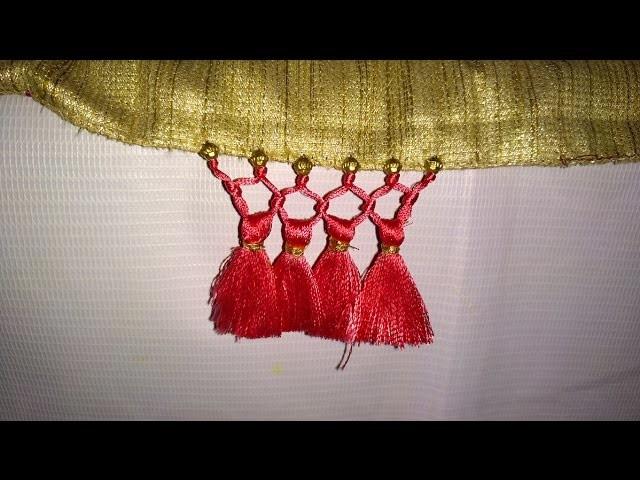 Simple Saree Kuchu.tassel with Beads Design - 2 Tutorial for Beginners. !