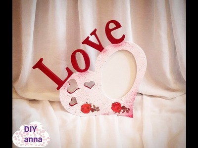 Valentine´s day gift - decoupage picture frame DIY shabby chic ideas decorations craft tutorial