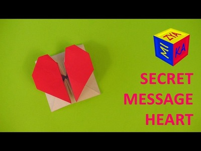 Valentines DIY ideas: an origami heart secret message. Video tutorial with folding instructions