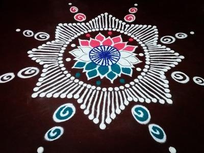 68th Republic Day Special Rangoli Design tutorial. Free Hand Rangoli. Kolam design