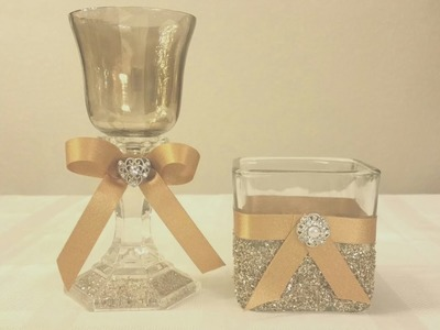 DIY: ELEGANT GLASS DOME CANDLE HOLDER DECOR.UNDER $3.00 TO MAKE