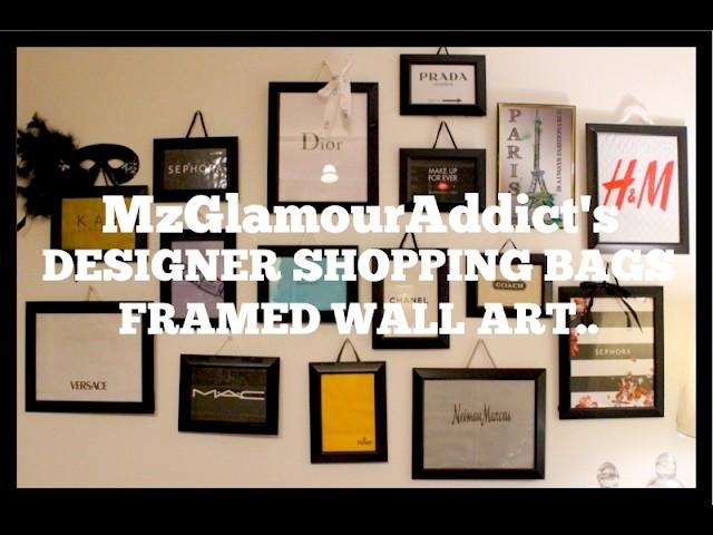 DIY Framed DESIGNER SHOPPING BAGS Wall Art   Creative & Fun Project!!