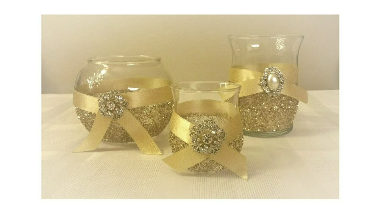 DIY: GLITTER GLASS CANDLE HOLDER TRIO DECOR.UNDER $5.00 TO MAKE