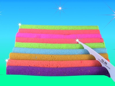 DIY: Making Rainbow Colored Kinetic Sand Straws to Learn Colors & Learn Shapes by Rainbow Collector
