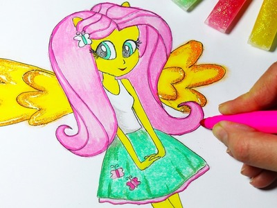 DIY My Little Pony Coloring Book Arts for Kids How to Color Fluttershy Equestria Girls