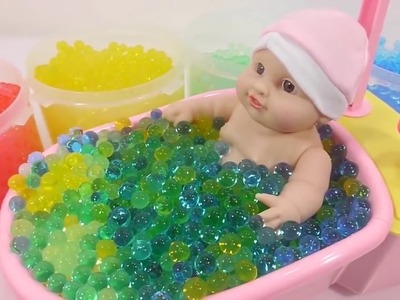 [Do It Yourself] Learn Color - DIY How To Make Galaxy Glitter Slime Clay Baby Doll Orbeez