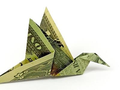 Dollar Bill Origami BIRD, how to fold a BIRD out of MONEY, 4K
