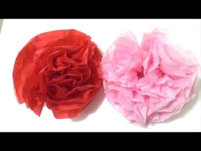 Easy Craft Tutorial Flower.Crepe Paper make flower 简单手工 花纸   簡単クラフト フラワーペーパーです