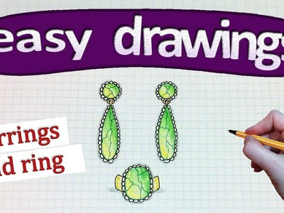 Easy drawings #246  How to draw a earrings and ring. drawings for beginners
