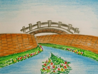 How to draw a bridge and river for kids in easy step | Scenery Drawing Channel#37