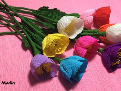 How to make pretty poppy flower by crepe paper easy.origami diy flowers poppy craft tutorials