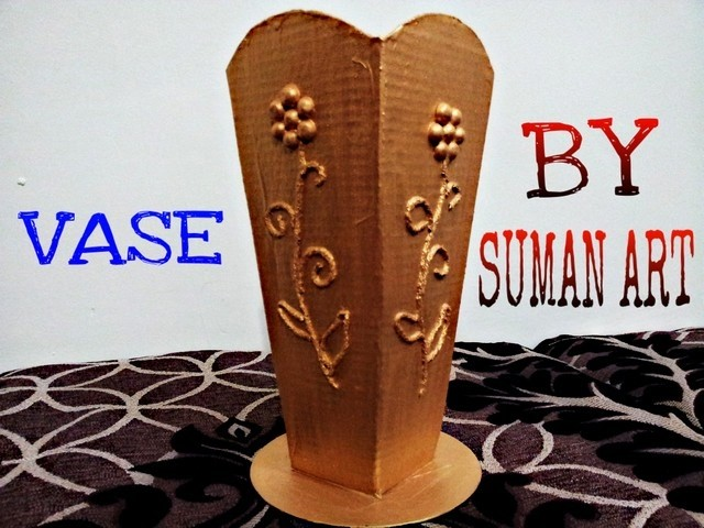 How to make vase using cardboard by suman art