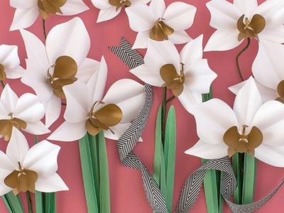 Make a Paper Flower Cymbidium Orchid Plant