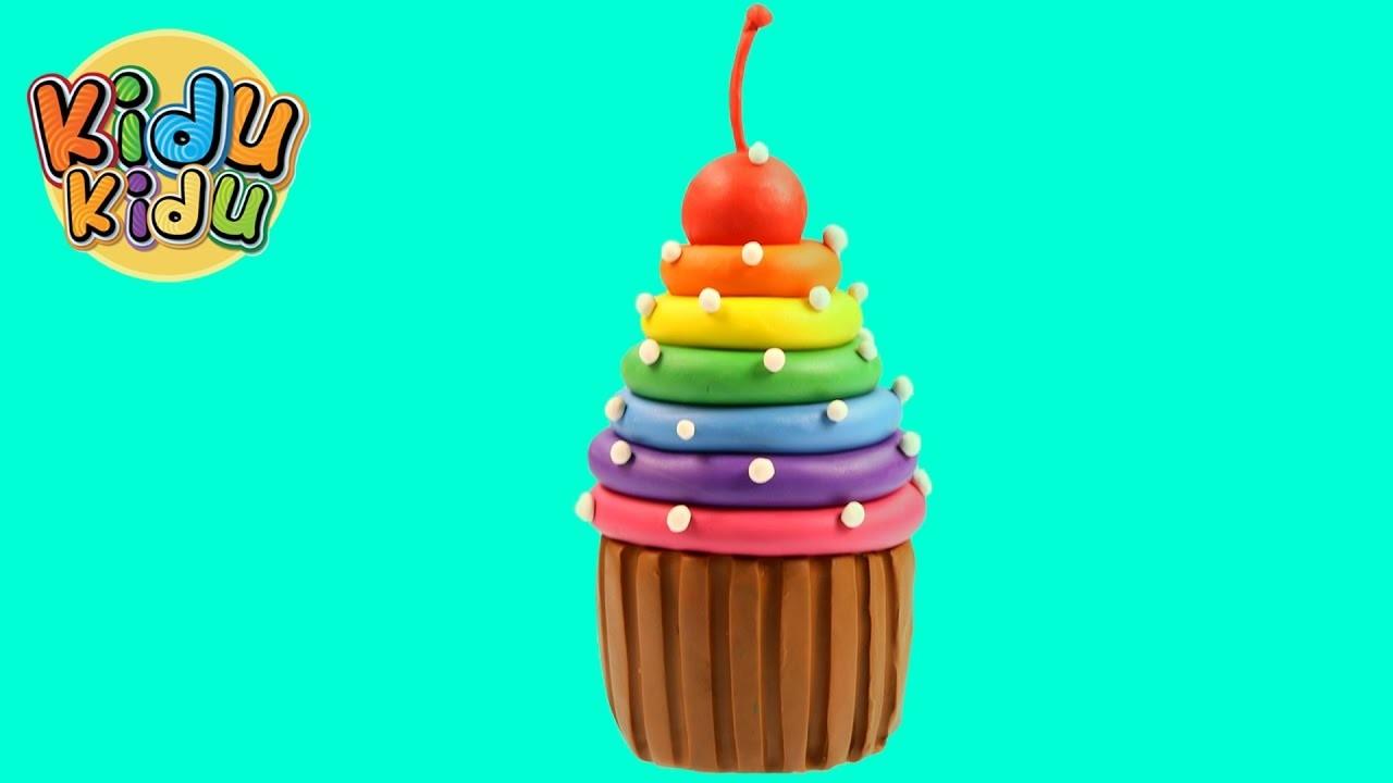 Play Doh Rainbow Chocolate Cupcake | Play dough Creative Fun DIY for Kids