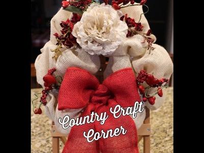 Quick & Small Valentine's Day Wreath Tutorial (Cream & Red Burlap)