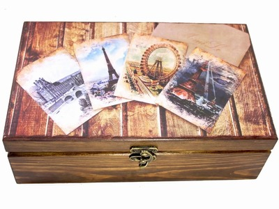 Vintage wooden tea box making DIY tutorial decoration design, caja de madera decoupage